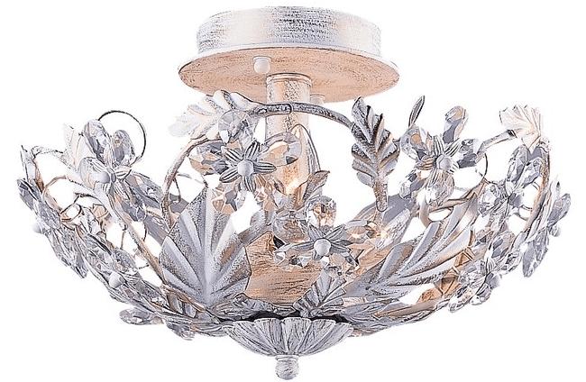 Светлые гипсокартонные потолки с цветочным дизайном украсьте серебристой люстрой