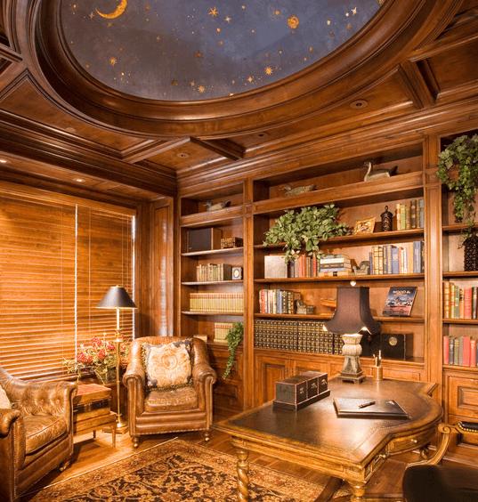 Стилизация неба в деревянной комнате
