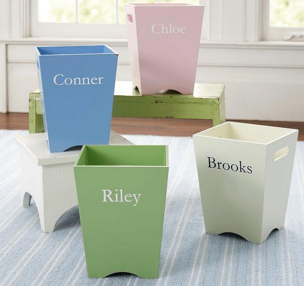 Деревянные цветные корзины для детских мелочей, своими руками