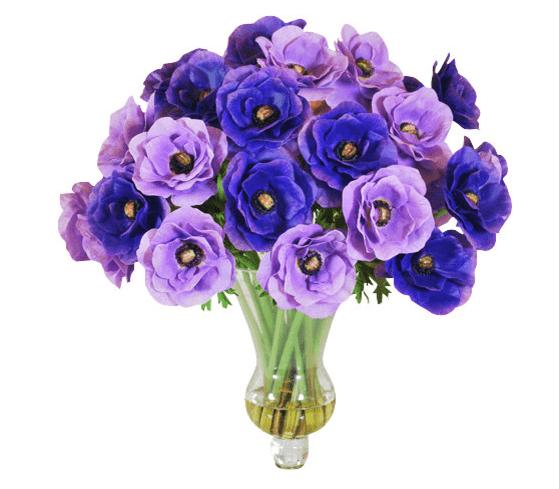 Цветочный декор в голубых интерьерах