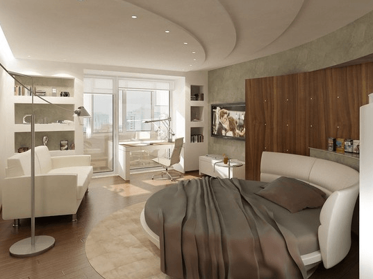 Для квартиры-студии рекомендовано использовать зонирование с помощью света