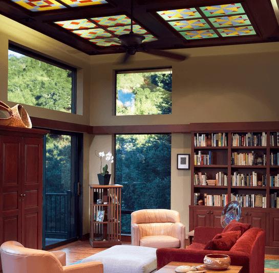 Ретро-стиль: потолочная плитка под витражное стекло