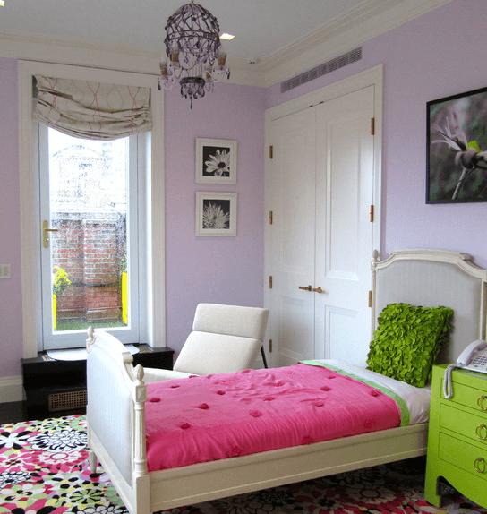 Комната для девочки: серо-лавандовый и майве