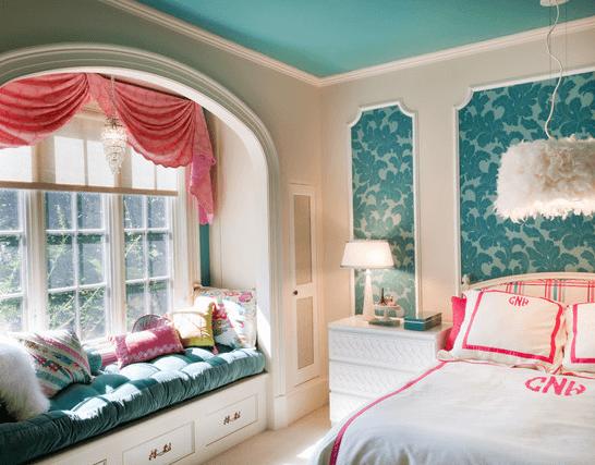 Бирюзовый натяжной потолок для комнаты девочки