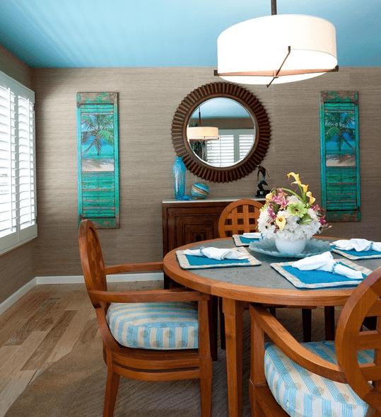 Ярко бирюзовый хорошо воссоздает тропическую стилистику