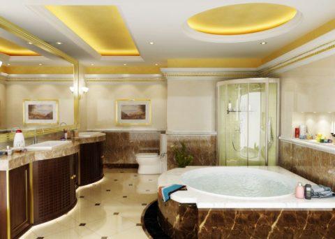 Антаблемент в ванной из массивного плинтуса