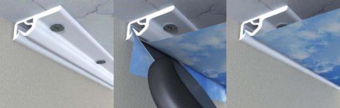 Багет видимый для натяжных потолков с клипсовым креплением