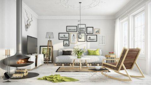 Белый штукатурный потолок с элементами лепнины: стиль скандинавский