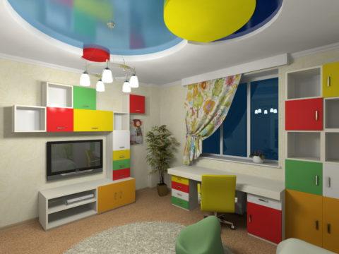 Белый цвет позволит выдержать баланс между яркими насыщенными цветами в интерьере детской комнаты