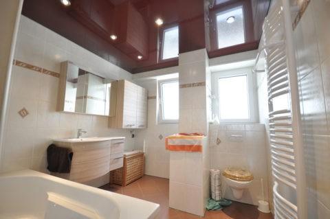 Бордово-коричневый потолок в совмещённой с туалетом ванной комнате