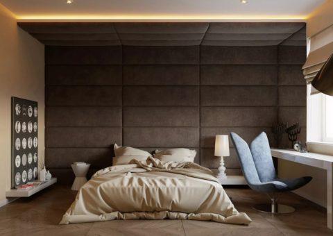 Часто мягкими панелями обшивают стену в изголовье кровати