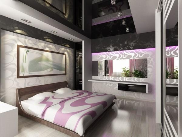 Чёрная глянцевая плёнка в дизайне спальни