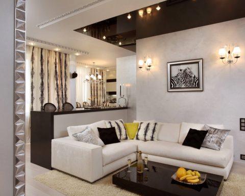 Чёрный и жемчужный: интересный вариант зонирования помещения сложной конфигурации