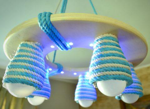 Что может быть экологичнее дерева и шнура из растительных волокон в светодиодном светильнике