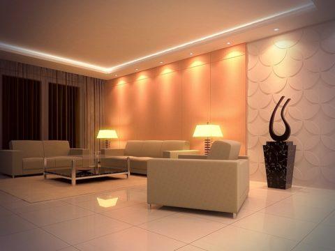 Чтобы украсить ваш потолок, вовсе не обязательно изощряться – достаточно грамотно его осветить