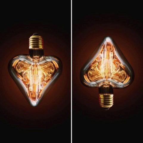 Декоративная колба лампы накаливания в форме сердца