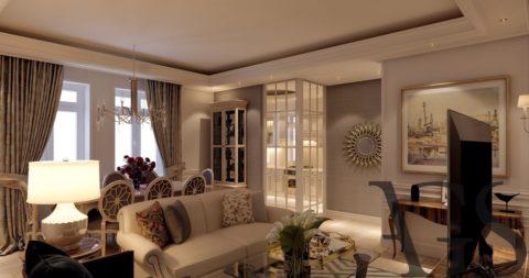 Декоративно оштукатуренный потолок в двух уровнях