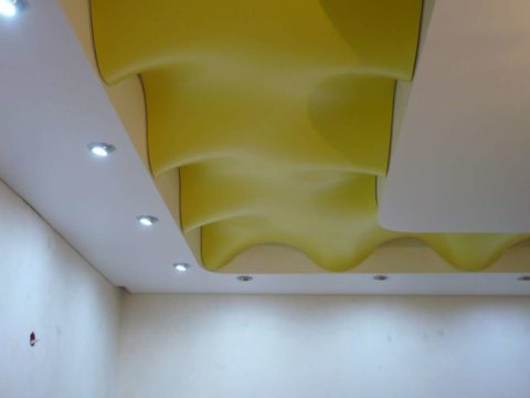 Декорирование подвесной конструкции из гипсокартона