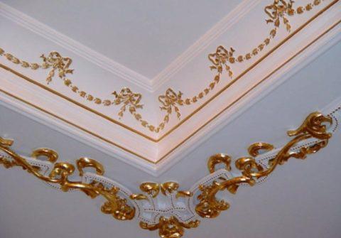 Декорирование превращает гипсовый плинтус в роскошный элемент оформления