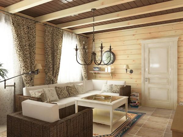 Дизайн деревянного потолка с балками