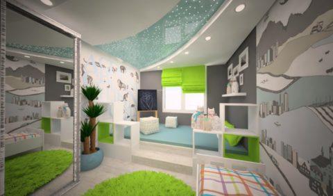 Дизайн детской комнаты с оптоволоконной подсветкой потолка