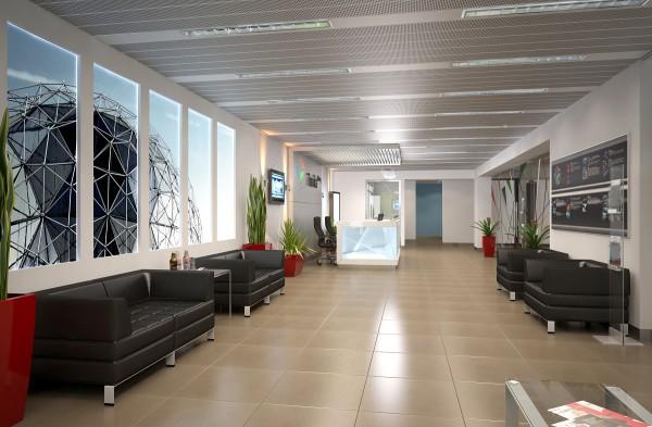 Дизайн помещения с перфорированным потолком