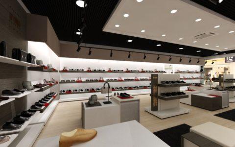 Дизайн потолка из гипрока в обувном магазине