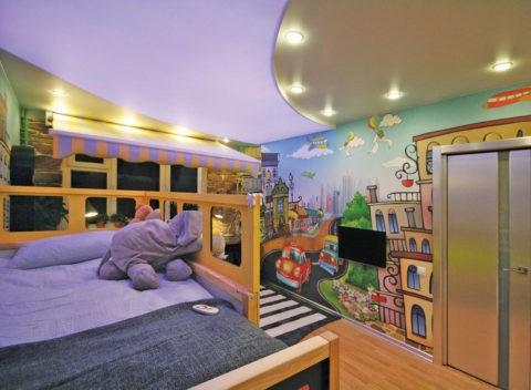 Дизайн потолка из гипсокартона в детской комнате