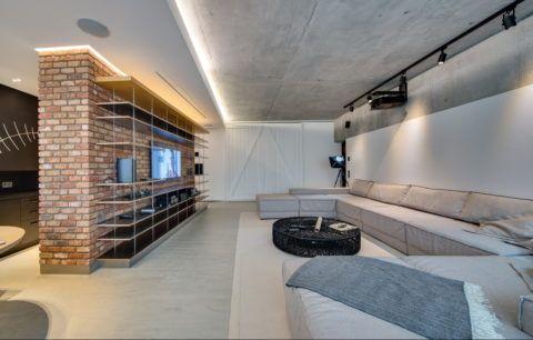 Дизайнерский потолок из гипсокартона в индустриальном стиле Лофт