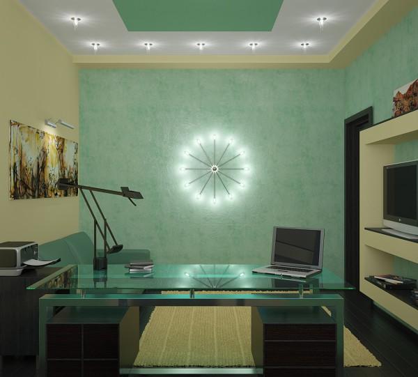 Домашний кабинет с зелёным потолком