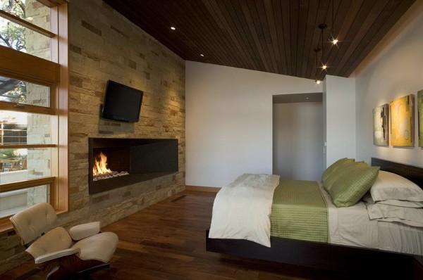 Дощатый подвесной потолок в спальню