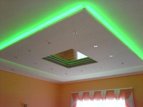 Эффект парящего потолка из гипсокартона с диодной подсветкой