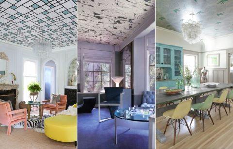 Если рисунок подходящий, то на потолок можно клеить и стеновые обои
