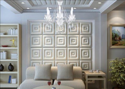 Фактурные панели из кожи на стенах и потолке