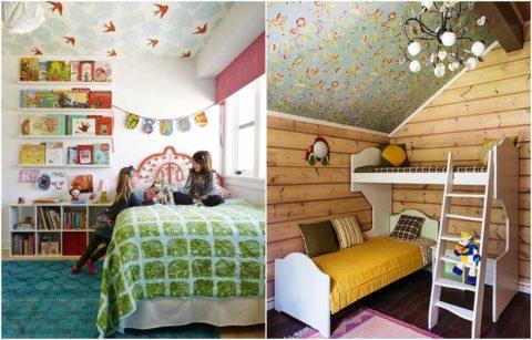 Флизелиновые обои на потолок в детской