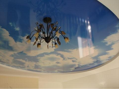 Фотопечать на глянцевом потолке из ПВХ