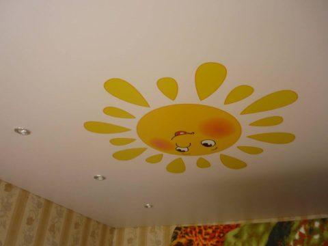 Фотопечать на одноуровневом потолке