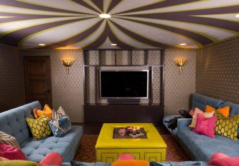 Гармоничное сочетание цвета потолка со стенами