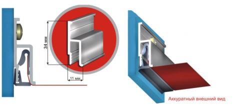 Гарпуны, приваренные по краю плёнки, цепляют за багет Ч-образной конфигурации