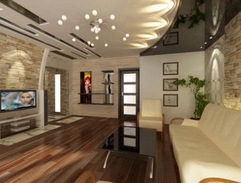 Гипсокартон великолепно сочетается с натяжными потолками