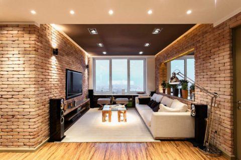Гипсокартонный потолок позволяет использовать функциональную встроенную подсветку