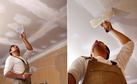 Гипсокартонный потолок предварительно шпаклюют, заделывая места стыков