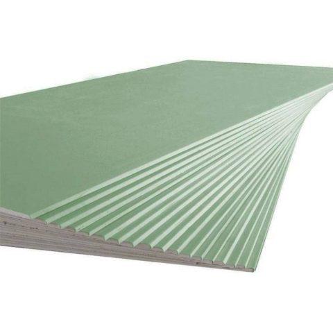 ГКЛВ (влагостойкий гипсокартон) толщиной 9,5 мм