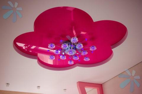 Глянцевая вставка цвета фуксии подчеркивает оригинальное исполнение светильника