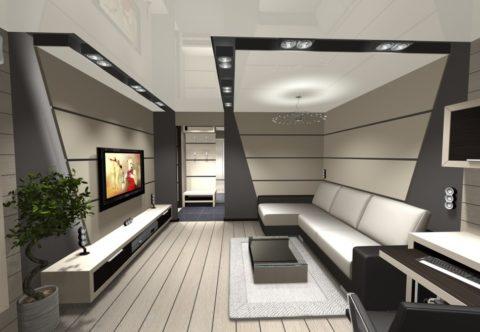 Глянцевое натяжное покрытие белового цвета в интерьере помещения