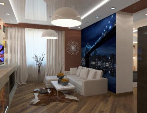 Глянцевый натяжной потолок в небольшой комнате