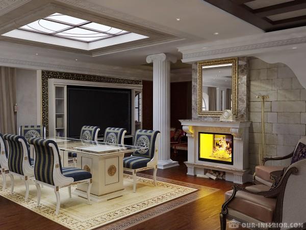 Гостиная в античном стиле: потолок из гипсокартона и стекла