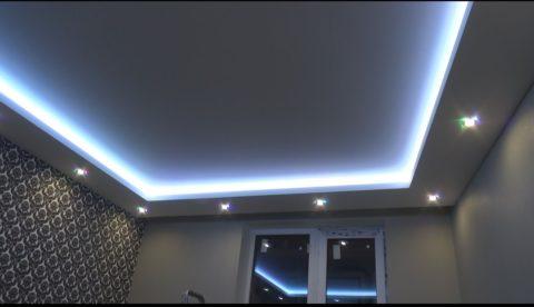 Готовый, зашпаклеванный потолок