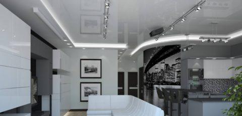 Интерьер помещения в стиле хай-тек