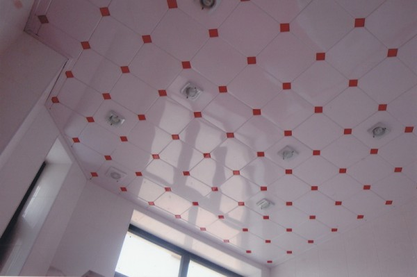 Интересное цветовое решение кассетного потолка